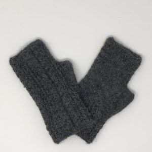 Alpaca Cable Fingerless Gloves - Charcoal