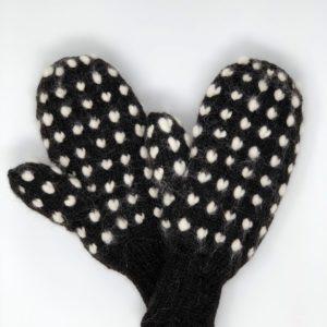 Mitaines lardées en alpaga - tricotées à la main à la ferme
