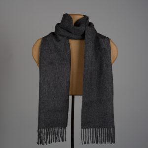 Foulard tissé de couleur unie en alpaga - Charbon