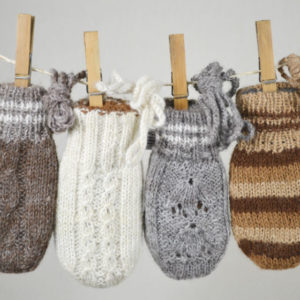 Hand made children's alpaca mitts- double and reversible