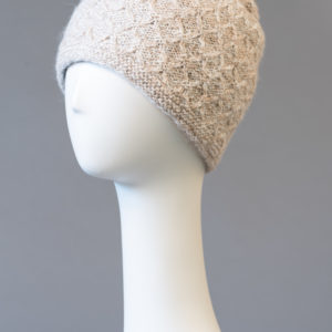 Hand made alpaca hat with removable pompom- double and reversible