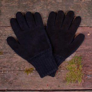 Gants en alpaga double avec suède noir - pour homme